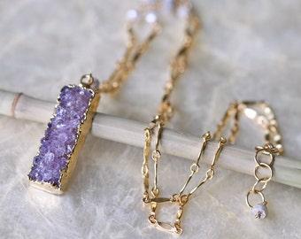 Druzy Necklace, Ready to Ship, Purple Druzy Necklace, Bar Necklace, Raw Stone Necklace, Beaded Chain, Multi Chain Necklace, Geode Necklace