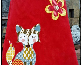 Foxy Red Corduroy A-Line Skirt with Flowers