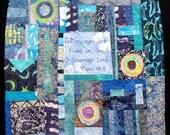 "Blue Batik Fabric Modern Art Quilt  Wall Hanging - ""Vision"""