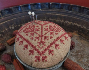 Redwork Quaker Heart Pincushion, Completed Cross Stitch, Early Look Primitive Folk Art Pincushion  ~ Ready To Ship ~