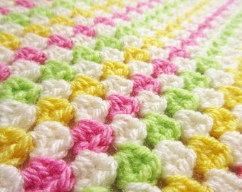 Crochet baby blanket pink, green and yellow granny square