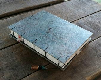 Medium Coptic Stitch Textured Lokta Journal, Blue Marbled Crinkled Lokta Guest Book, Handmade Sketchbook Notebook, Light Blue Art Journal