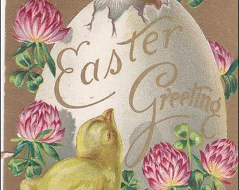 Easter Greeting  chick  with Bunny Rabbit in egg Vintage PostCard - Post Card