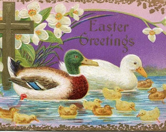 Easter vintage postcard, Easter Greetings, duck family antique postcard, ducklings and cross vintage postcard, SharonFosterVintage