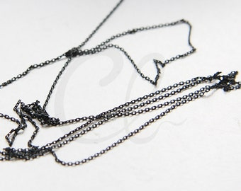 3 Feet Matte Black Plated Brass Base Rectangle Cable Link Chain-1.4x0.9mm (225S4DC)