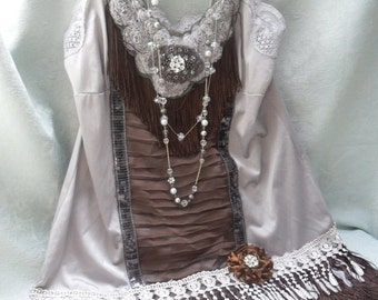 MidWinter Sale 20% Off FLAPPER Gatsby 1920s Downton Abbey Speakeasy Fringe - Vintage Slip Make Over - Gray and Coffee