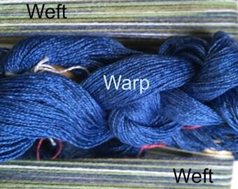 Scarf weaving loom kit-Green, blue and white yarn-Rigid heddle loom- Floor loom-Table loom-weaving