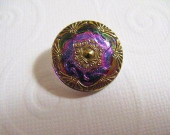 18.8mm Bohemian Czech Glass Button, Fuschia with gold trim