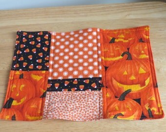 Handmade Quilted Mug Rug, Mini Quilt, Home Decor, Halloween
