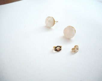 Moon Beams ... stud earrings, natural rainbow moonstone ... #584, #585