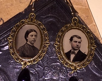 Victorian Gem Tintype Photo Earrings with Edwardian Black Glass Drops Goth Steampunk Oddities Mourning