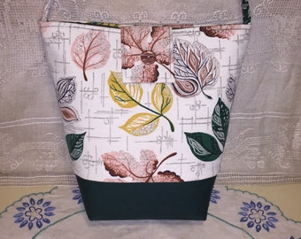 Vintage Mid Century Barkcloth Fabric Purse Handbag Green Pink Yellow Leaves Abstract Modern Ginas Creations Original