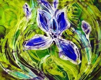 Framed Picture Hand Painted Batik Art on Silk Blue Iris