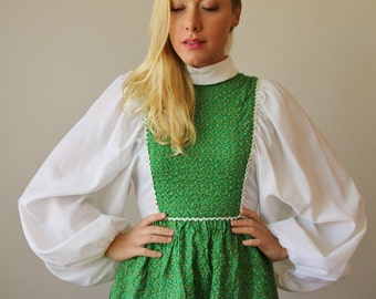 1960s Calico Mini Dress >>> Size Extra Small to Small