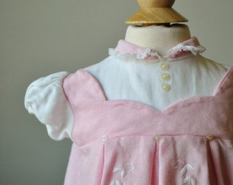 ON SALE 1960s Knit Pinafore Dress~Size 6 Months