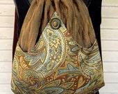 Paisley Backpack in Seafoam Green And Brown  Brown backpack boho backpack renaissance backpack brown tassel rich tapestry