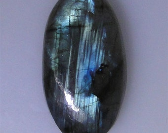 Labradorite long oval cabochon, blue green flash, 58.62 carats                          043-10-626