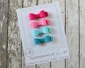 Set of 4 Felt Hair Bows - SMALL size - cute girly set - fuchsia, hot pink, mint, turquoise -  felt bow hair clips -  felt hair bows