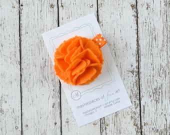 Tangerine Orange Felt Carnation Flower Hair Clip on a Polka Dot Clippie - halloween - felt flower hairbow - flower hair bow non slip grip