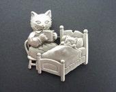 Vintage Pewter Cat Reading To Kitten In Bed Brooch from Jonette Jewelry, Backmarked JJ