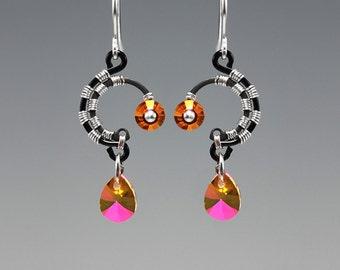 Sirius II v3: Beautiful Astral Pink Swarovski Crystal Industrial Earrings