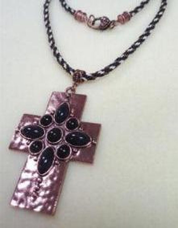 Copper Cross Necklace with Kumihimo Braid