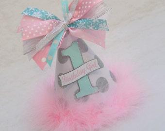 Silver Glitter, Aqua and Pink Winter Onederland Birthday Party Hat - Winter Wonderland, Snowflake, Frozen, Anna, Elsa, Princess, Fairy