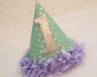 NEW Mint, Silver, and Lavender Polka Dot Birthday Party Hat - Frozen birthday party, Winter Wonderland, Winter Onederland
