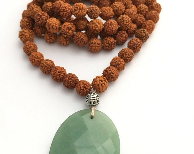 SALE Avalon mala necklace -  rudruksha bead hand knotted mala adventurine focal bead, long necklace, focal stone necklace, yoga jewelry