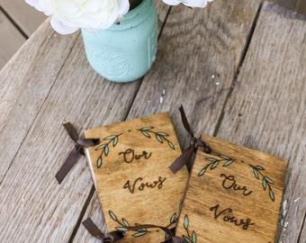 Wedding Vow Books - Green Leaf Wreath - Set of 2