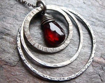 Garnet in Three Sterling Silver Textured Rings Pendant Necklace - Garnet Sterling Silver Pendant on Sterling Silver Chain