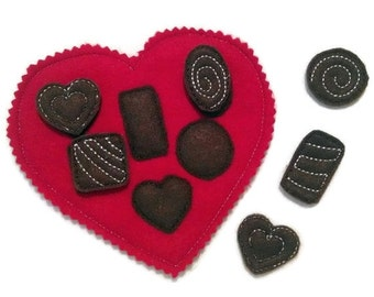 Candy heart shapes matching felt game great for quiet books or busy bags #3868