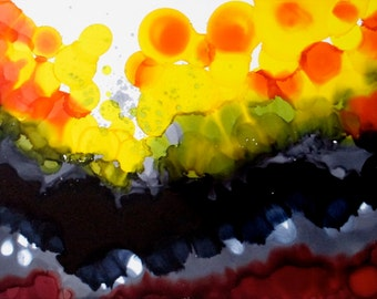 Alcohol ink painting, abstract art, abstract landscape painting, sunburst