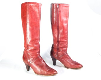 VTG 70's Chestnut Leather Knee High Boots size 9 Womens Retro High Stacked Wood Heels Zip Up