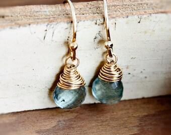 Moss Aquamarine, Aquamarine Earrings, Drop Earrings, Wire Wrapped, Gemstone Jewelry, Seafoam Green, March Birthstone, Dangle Earrings
