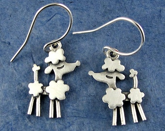 Tiny poodle earrings