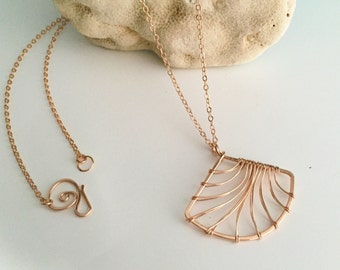 Long Rose Gold Filled Fan Necklace. N381GF-L  - wire jewelry by cristysjewlery on etsy