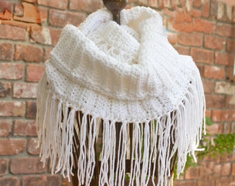 White Fringed Cowl Scarf, Crochet Infinity Scarf, Circle Scarf, Vegan Winter Scarf Woman's Scarf  , Ready to Ship