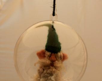 Needle felted Gnome Ornament Gnome Snow Globe, Gnome ornie 4 inch #1986
