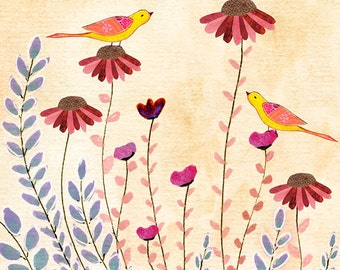 Bird and Flower Collage Painting, Mixed Media Art Large Poster Print 50x50 cm (20x20 Inch), Home Decor
