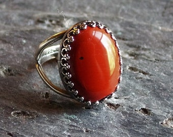 Red jasper ring, antique silver ring, gemstone ring, holiday gift ideas, gift ideas for mom, unique Christmas gift