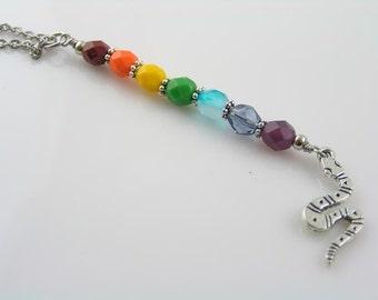 Rainbow Snake Necklace, Rainbow Necklace, Australian Necklace, Rainbow Serpent Pendant, Rainbow Snake Aboriginal Necklace, Rainbow Jewelry