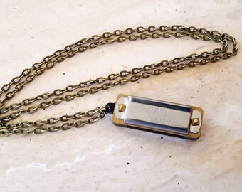 Harmonica Necklace, Miniature Working Musical Instrument, Musical Jewelry