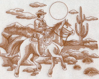 Embroidered Cowboy Scene Toile Western