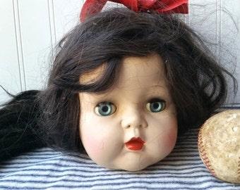 Beautiful Large Vintage doll head Ideal doll  brunette hard plastic display head Home decor E4