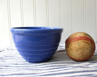 Vintage blue pottery bowl ribbed mixing bowl dish Farmhouse kitchen rustic pottery crockery