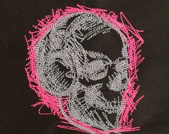 Black Tote Bag - Pink Skull Embroidery