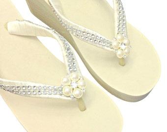 Wedge Flip Flops Ivory - Wedding Flip Flops - Beach Sandals - Platform Flip Flops - Beach Wedding - Ivory Bridal Wedge Flip Flops