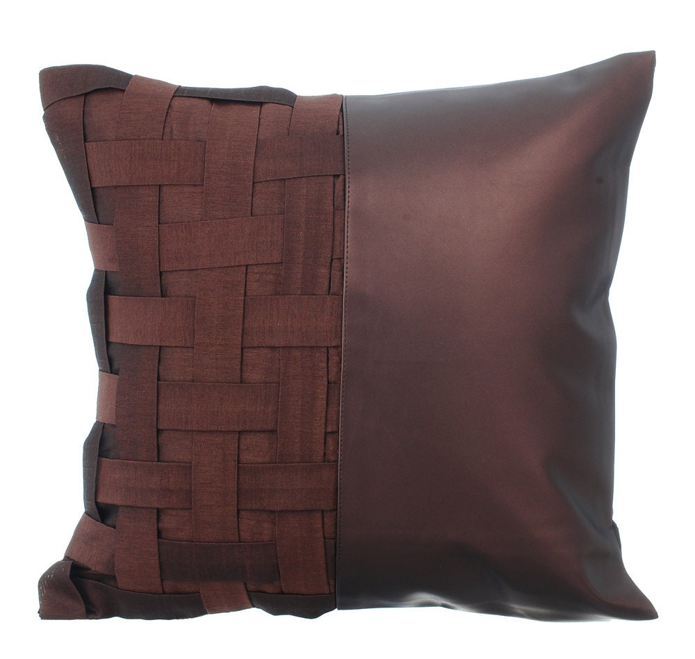 Decorative Pillows Leather : Decorative Throw Pillow Cover Accent Pillow Couch Sofa Leather