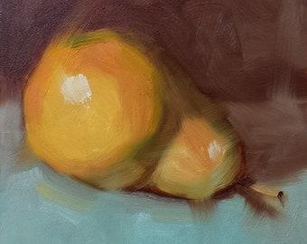 "Small Original Oil Painting, Yellow Pear, 5 x 5"", Unframed, Wall Art, Kitchen Art"